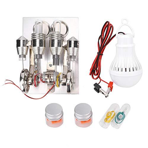DAUERHAFT Mini Kit de Motor de Motor Stirling de Acero Inoxidable, Modelo de enseñanza de Laboratorio de física, 4 Cilindros