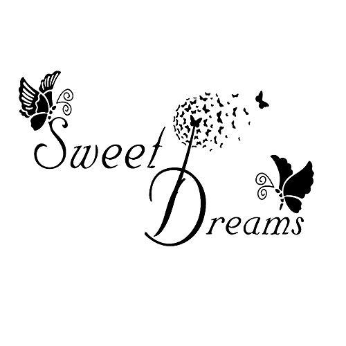 """""""Sweet Dream"""" mit Schmetterling Wandtattoo, AUHOTA Abnehmbare DIY Spruch Wandsticker Wandaufklebe Wandgemälde Dekoration für Kinder Schlafzimmer Wohnzimmer Ankleidezimmer (19×11,4Zoll, Schwarz)"""