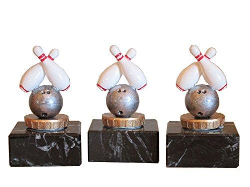 3er-Serie Bowling-Pokale (R) auf Marmorsockel mit Wunschgravur