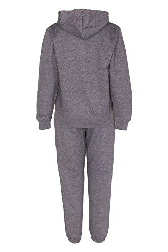 NOROZE Kids Boys Contrast Cord Full Zip Fleece Tracksuit (Charcoal Red, 11-12 Years)