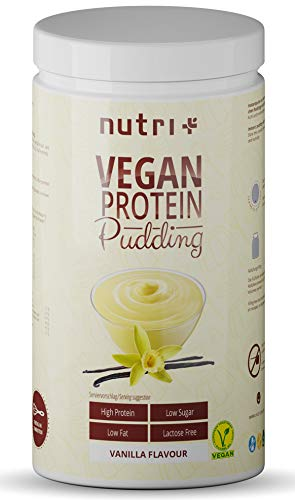 PROTEIN PUDDING VEGAN Vanille 500g - 84,8% Eiweiß - nur 113 Kalorien - Low Sugar Dessert - Zuckerarm - Laktosefrei - Kalorienarm - Fettarm - Glutenfrei