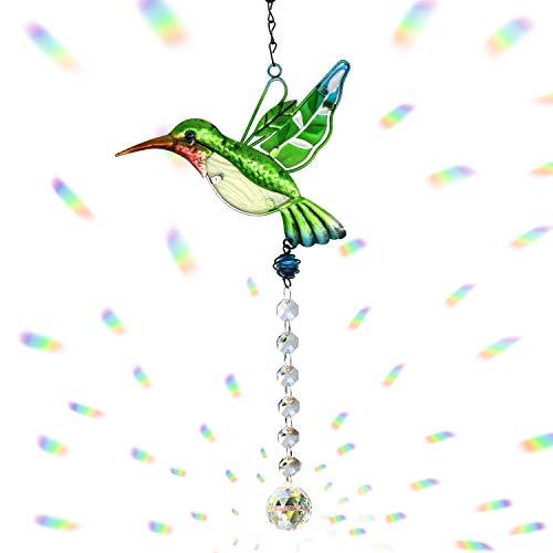 Cosylove Kristall-Sonnenfänger Grüner Kolibri Anhänger hängender Kronleuchter Prisma Regenbogenhersteller Ornament für Fenster Sun Catcher Hausgarten Dekoration