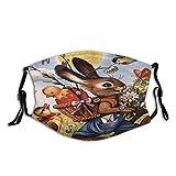 Gesichtsschutz Mundschutz Osterhase Kleine Blume Kaninchen Blumen Vintage Schmetterling Lustiger Vogel Sturmhaube Mund Bandanas mit 2 Filtern