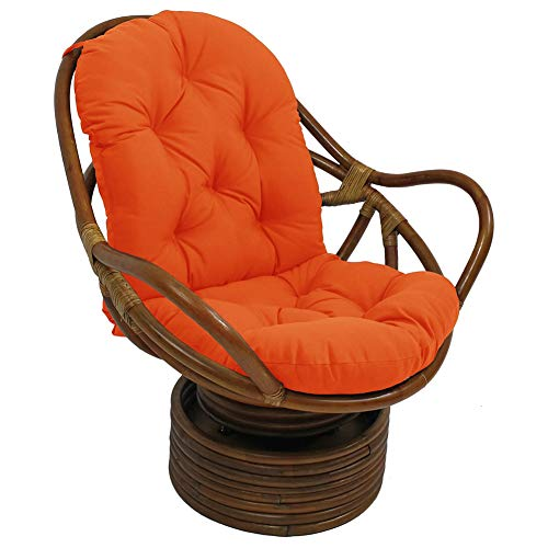 Soft Solid Twill Waterproof Chair Cushion,Not Rattan Frame for Patio Outdoor Indoor,Papasan Rattan Replacement Cushion-Orange 48x24x5inch