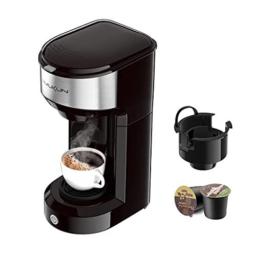 keurig coffee maker evers Single Serve Coffee Maker Coffee Brewer for K-Cup Single Cup Capsule and Ground Coffee, Single Cup Coffee Makers with 6 to 14oz Reservoir, Mini Size (Black)