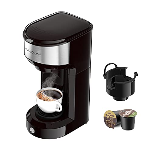 Single Serve Coffee Maker Coffee Brewer for K-Cup Single Cup Capsule and Ground Coffee, Single Cup Coffee Makers with 6…