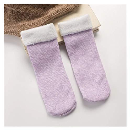 XINSHENG store 1pairs dames snowboots Sokken Casual effen kleur Thicken Thermal Cashmere Wool Floor Sokken Soft Cotton Winter Warm Sock (Kleur : Lavender, Grootte : One Size)