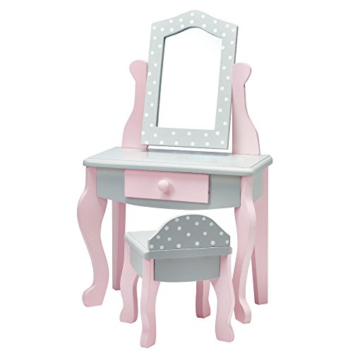 Olivia's Little World - Princess 18' Doll Furniture, Vanity Table & Chair Set, Fits American Girls, Our Generation & More, Gray