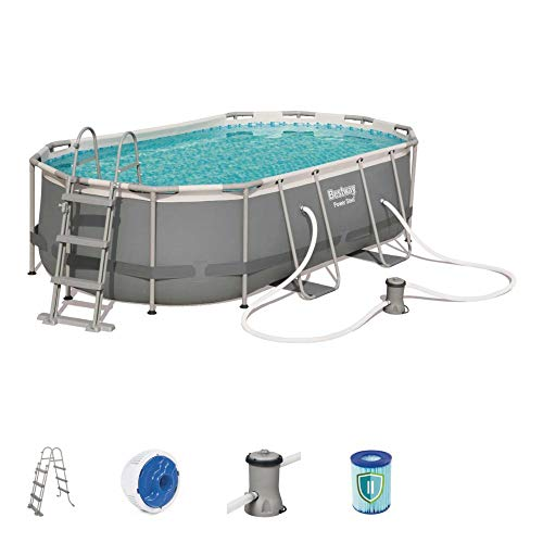 Bestway - Kit de piscina ovalado de Power Steel (4,24 x 2,50 x 1,00 m, incluye escalera, dispensador Chemconnect y bomba de filtración)