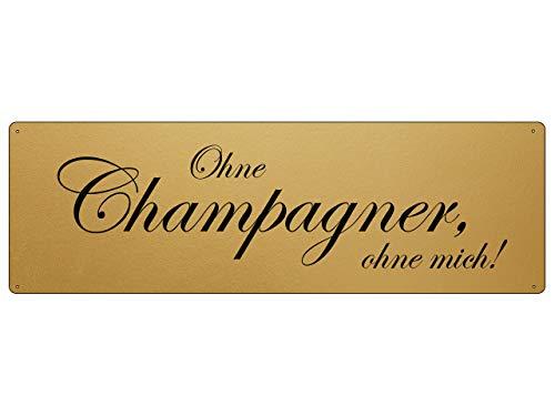 Interluxe gouden metalen bord - zonder champagne Ohne Mich - champagne Sparkling wanddecoratie goudlook