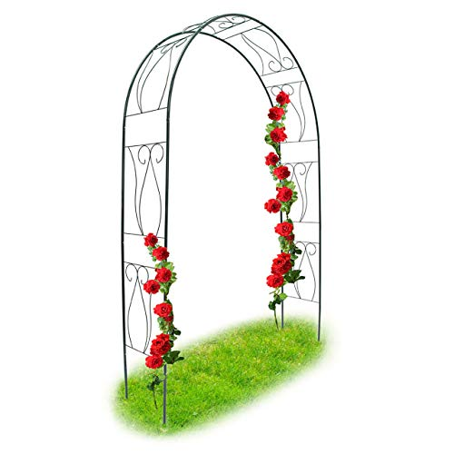 Relaxdays Trellis Archway, Powder-Coated Steel Support Arch for Climbing Plants, 2.3 m Tall, Dark Green