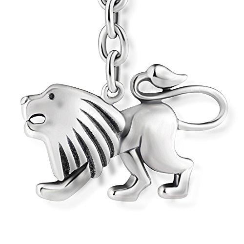 STERLL Heren sleutelhanger sterrenbeeld leeuw sterling zilver 925 geoxideerd sieradenzakje geschenken voor mannen