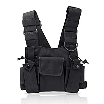 abcGoodefg Radio Chest Harness Chest Front Pack Pouch Holster Vest Rig for Two Way Radio Walkie Talkie Rescue Essentials   Black
