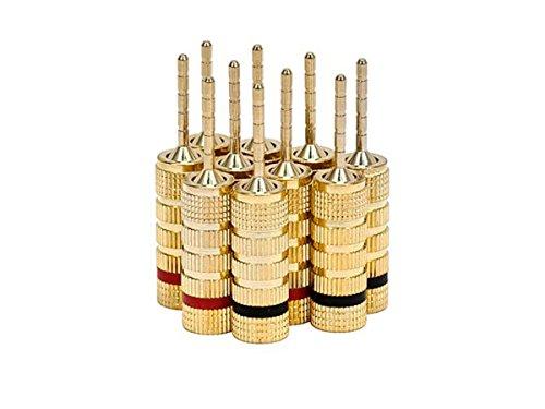 Monoprice 5 PAIRS OF Copper (non-banana) Speaker Plugs - Pin Screw Type