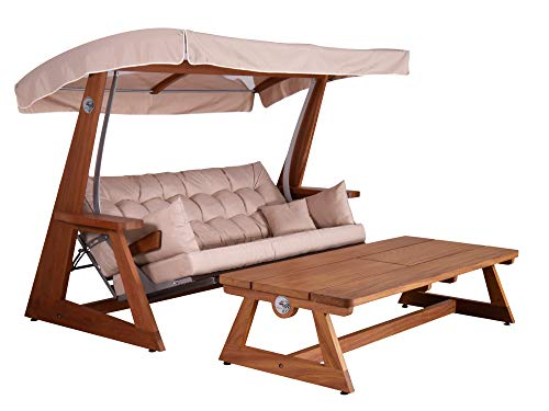 Hollyswing Hollywood Swing + Table + Protective Cover / Iroko Wood / 2-Seater / Beige Upholstery / Glass Roof Reclining Function Garden Swing Garden Lounger Garden Furniture