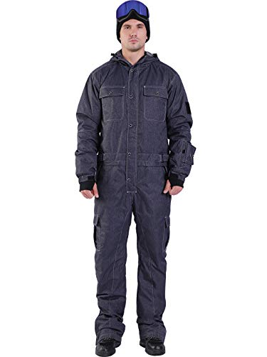 Bluemagic Men's Soild Waterproof One Pieces Snowsuits Overall Jumpsuits Ski Suits for Downhill Skiing (XXL, Denim Print)