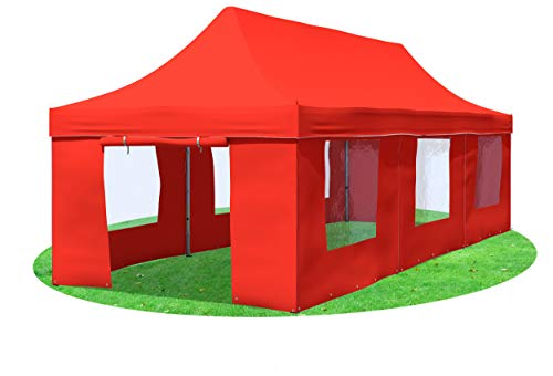Carpa de jardín plegable profesional Plus + con ventana, diferentes tamaños y colores, color rojo, tamaño 3x9 m