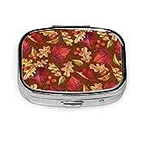 Pastillero cuadrado, tela de acción de gracias Thankful Harvest Multi-Lanzamiento de almacenamiento portátil de medallón de acero inoxidable con espejo