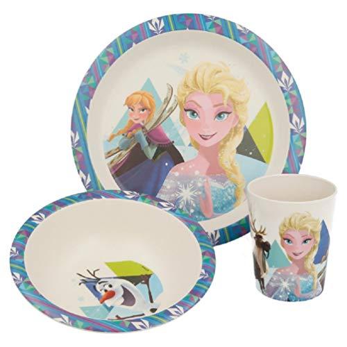 Frozen - Die Eiskönigin Elsa Kinder-Geschirr Set mit Teller, Müslischale und Tasse | Frühstücks-Set