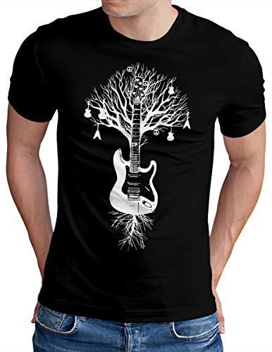 OM3® - Guitar Tree Roots - T-Shirt - Herren - Gitarren Baum Musik - Schwarz, XL