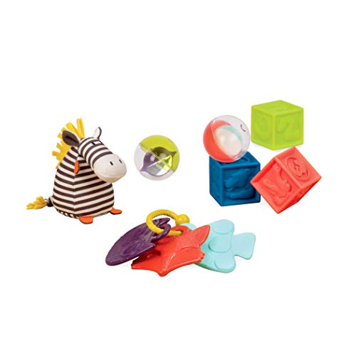 B. Toys – Juego de 7 Juguetes educativos preescolares para recién Nacidos y bebés con sonajero de bebé, Bloques apilables, Bolas de bebé y Cebra de Felpa Suave