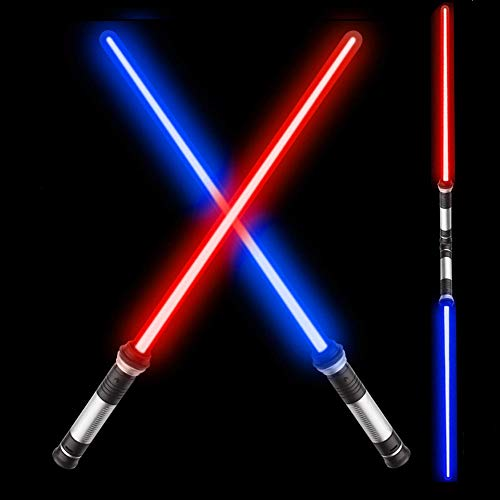 OPASDH Laser Sword Light Up Saber 2-in-1 Led FX Dual Bladed Set with Sound (Motion Sensitive) and 7 Colors, Stocking Idea, Xmas Presents, Galaxy War Fighters and Warriors - 26'' (2 Pack)