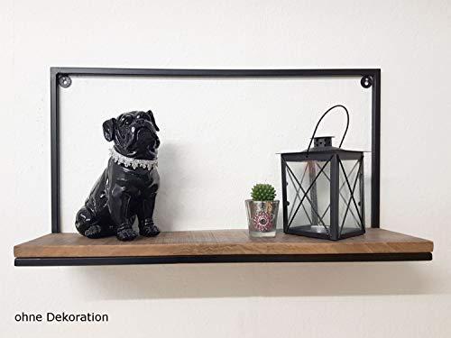Casamia Liverpool - Mensola da parete, in metallo, 75 x 40 x 20 cm, colore: nero opaco