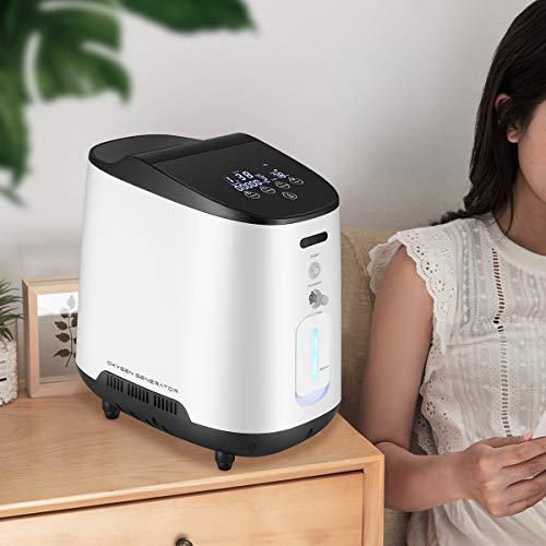 S SMAUTOP Concentratore di Ossigeno Portatile 1-7L / Min Regolabile Generatore di Ossigeno O2 Rumorosità <60 dB per uso Domestico e di Viaggio 220V