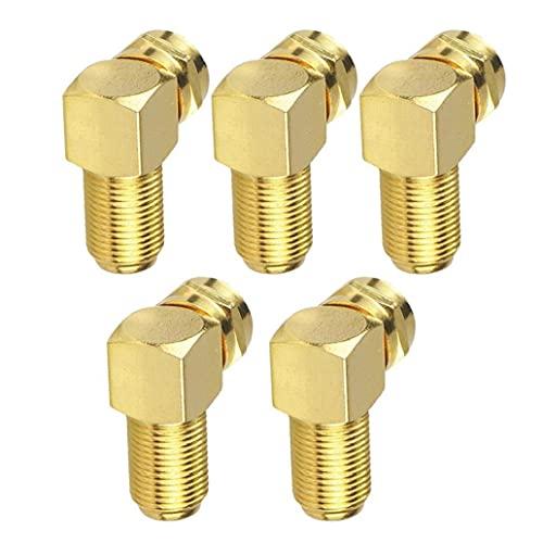 Sanfiyya Adaptador de Cable Conector de ángulo F para Cable de Antena con conversión chapada en Oro coaxial de Oro 5pcs