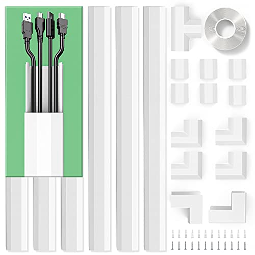 """[2019 Upgrade] Cable Management for Wall Mount TV, 94.5"""" Cable Concealer, Large Paintable Cord Cover Raceway Kit Hide Wires for TV and Computers in Home & Office - 6X L15.75in W1.18in H0.67in"""
