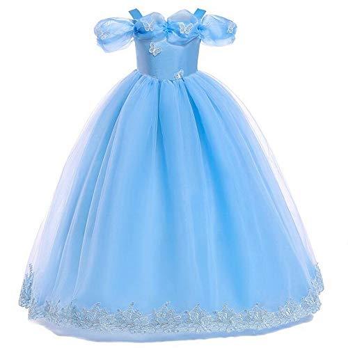 Mädchen Erstkommunion Kleid Aschenputtel Schmetterling Kostüm Spitze Applikation bestickt Ballkleid Prinzessin Party Hochzeit Kleider für Kinder Gr. 7-8 Jahre, blau