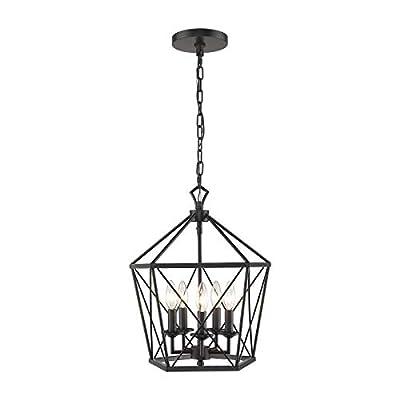 EAPUDUN Farmhouse Lantern Chandelier, 5-Light Metal Adjustable Height Industrial Square Pendant Light for Living Room,Kitchen Lsland,Hallway Foyer Hanging Ceiling Lighting, PDA1274-MBK