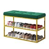 Banco de zapatos Banco de zapatos, Zapatero de 3 niveles para entrada, Organizador de almacenamiento con asiento acolchado de espuma, Reposapiés con estructura de metal, Reposapiés y otomanos (