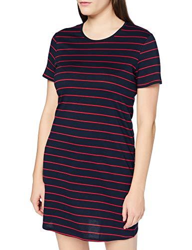 Schiesser Damen Sleepshirt 1/2 Arm Nachthemd, Blau rot gestreift, 38