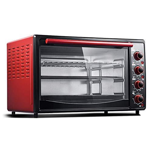 Riyyow 45L Mini Horno Rojo Inicio Ajuste de Temperatura del Horno eléctrico 90-240  Y 60 Minutos Temporizador Calefacción de Tres Capas Nueve Tubos de calefacción