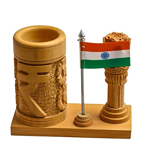 Divine Products India Wooden Handcrafted Pen Stand/Holder with Ashok Piller/Stambh And Indian Flag, Office Gift, Carved, Vintage, Hand Carved,Unique,Antique