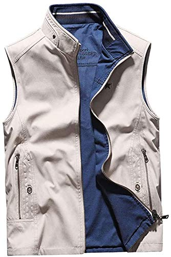 Pêche Gilets Gilet Gilet Homme Deux côtés Peuvent Porter de Plein air Respirante Polaires Wearable en All Seasons Jacket (Color : White, Size : 5XL)