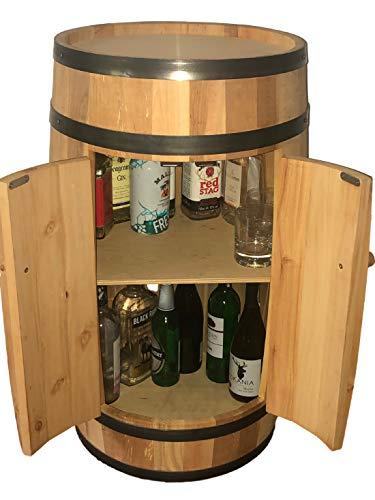 Holz-Fass Bar mit Türen, 80 cm hoch, Weinregal