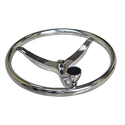 Stainless Steel Boat Steering Wheel 3 Spoke 13-1/2' Dia, with 5/8' -18 Nut and Turning Knob for...
