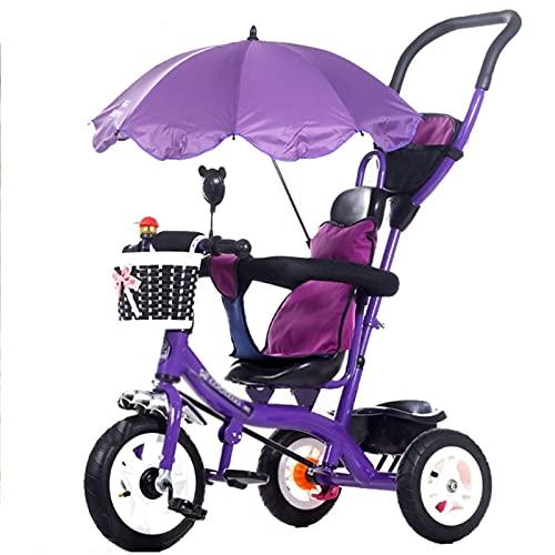 HYAN Cochecito de Triciclo Push Bike - Trible Ajustable para NIÑOS, niños pequeños, Edades Infantiles 15 Meses a años con Dosel extraíbles (Color : C)