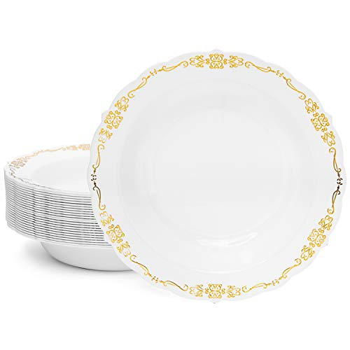 Perfect Settings Antique Plastic Bowls - 12 oz Heavy Duty Disposable Dinnerware Soup Bowls | Verona Series Raised Gold Embossed | 25 Bowls