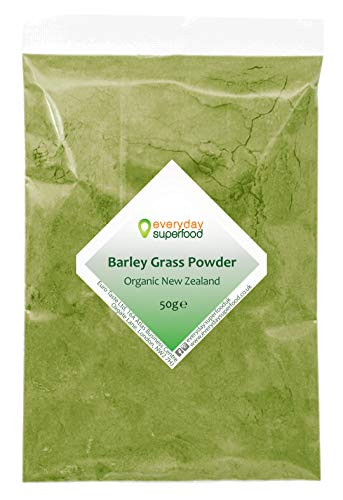 Organic Barley Grass Powder (New Zealand) 50g Premium Raw & Natural Barleygrass Pure Keto Ingredient Fine Milled New Zealand Barley Grass Powder Ideal in Juice and Smoothies