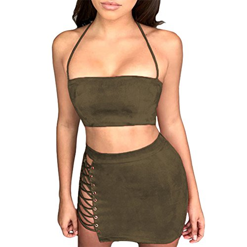 Antopmen Women Sexy Spaghetti Strap Crop Top Side Lace Up Skirt Outfit Two Piece Bodycon Bandage Dress (Large, Army Green)