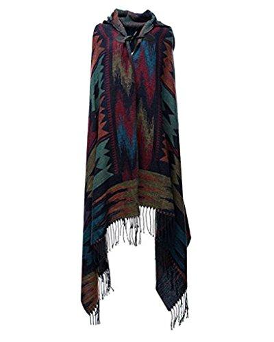 Minetom Damen Strick Warm Hooded Kapuzen Umhang Pashmina Ponchos Cape Outwear Mantel Schal (Blau)