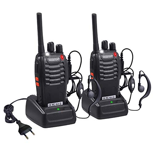Proster Walkie Talkie Recargables 16 Canales Walky Talky Profesionales PMR446 CTCSS DCS Función VOX 888S Emisoras Radios Gran Alcance con Pinganillos Cargador Enchufe 5V/1A