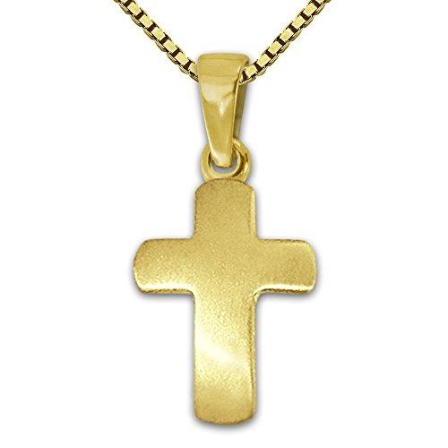 CLEVER SCHMUCK Set Goldener Mini Anhänger kleines Schlichtes Kreuz 12 mm seidenmatt leicht gewölbt 333 Gold 8 Karat und vergoldete Kette Venezia 36 cm