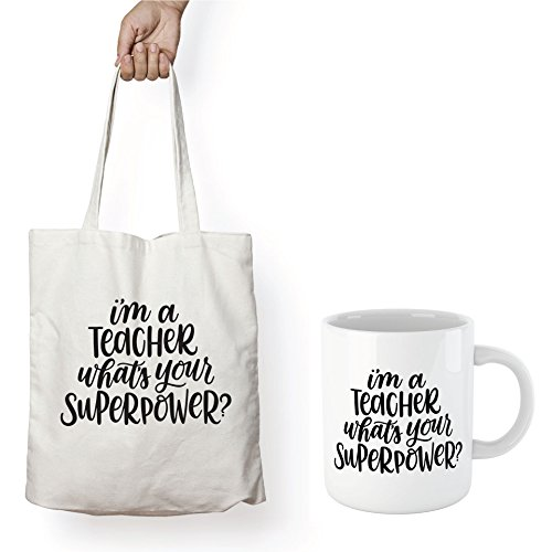 Book Lovers Reading Mug & TOTE, BW Quote - I'M A TEACHER, WHAT'S YOUR SUPERPOWER? -Bookworm Gifts, Funny Bookish Coffee Mug, Reader Gift, Teacher Gift!