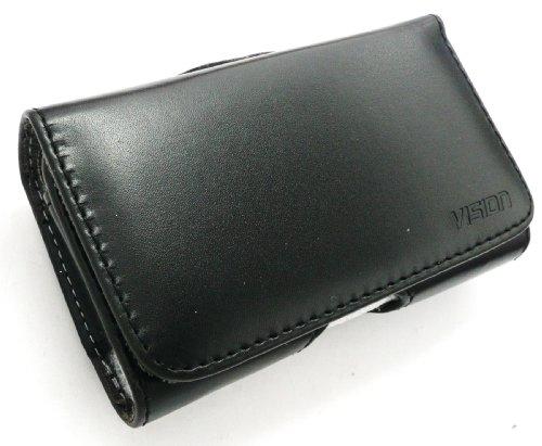 emartbuy® Vision Slim Line Nokia Lumia 730 Dual SIM/Lumia 735 Kompatibel PU Leder horizontale Schwarze Tasche Hülle (Größe 3XL) Mit Gürtelclip