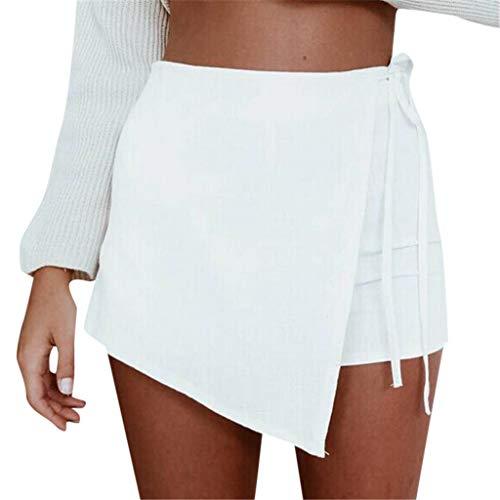 TOPUNDER Womens Skorts Shorts Skirt High Waisted Casual Irregular Flanging Wrap Culottes