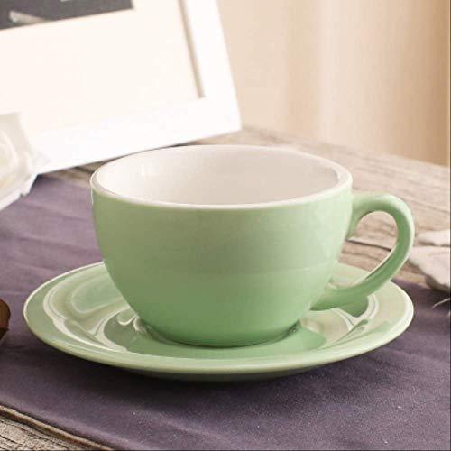 200ml Macaron Breitmund Cappuccino Kaffeetasse Mit Untertasse Europäische Dicke Farbige Glasur Keramik Espresso Kaffeetasse Sets 02